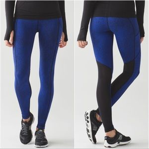 Lululemon Speed Tight V Blue & Black Luxtreme Sz 4